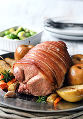 Pork roast main course with vegetables