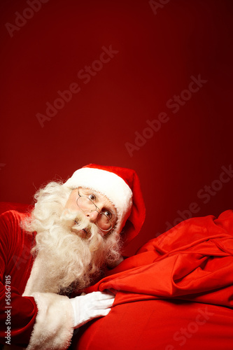 canvas print picture Santa with big sack