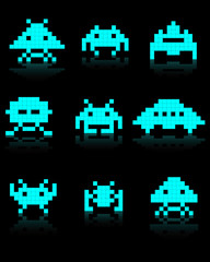 blue silhouettes of Space Invaders