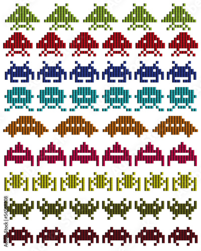 colored silhouettes of Space Invaders
