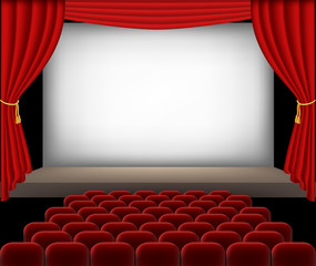 Cinema auditorium with red seats and curtains