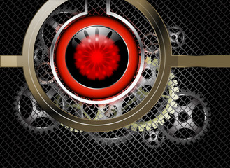 Metallic with red circular on gears abstract background