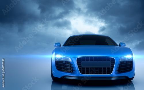 obraz PCV Niebieski samochód Sport
