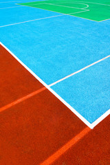 Basketball court, a fragment of markup in three colors
