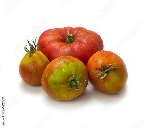 Close-up of heirloom tomatoes on white background