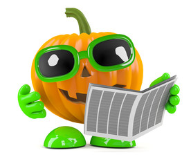 Pumpkin reads the Halloween Times