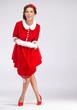 Full Portrait of Beautiful Christmas Woman - Fashion retro.