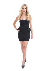 Attractive blonde girl in classy black dress posing