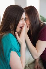 Brunette teen telling her shocked friend a secret