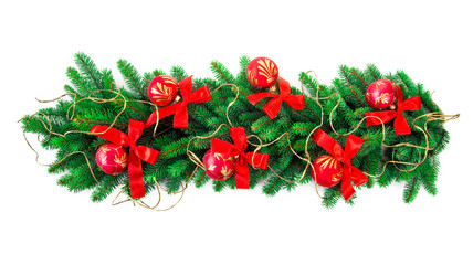 christmas garland over white background