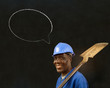 African black worker with chalk speech bubble on a background