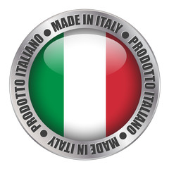 """MADE IN ITALY"" label (badge stamp flag italian produce button)"
