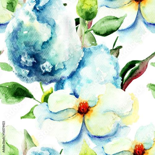 Tuinposter Hydrangea Seamless pattern with Beautiful summer flowers