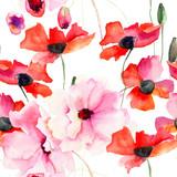 Seamless wallpaper with Colorful pink flowers