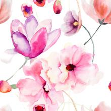 Aquarelle seamless avec des fleurs roses