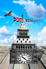 Big Ben, British flags, airoplane