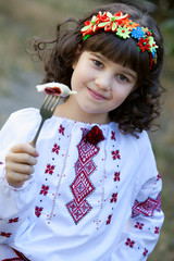cute girl invite to try national dish vareniki