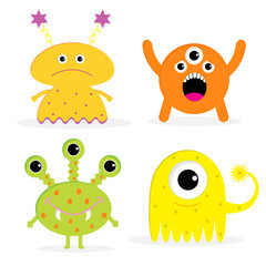 Set of four cute cartoon monsters. Isolated. Happy Halloween car