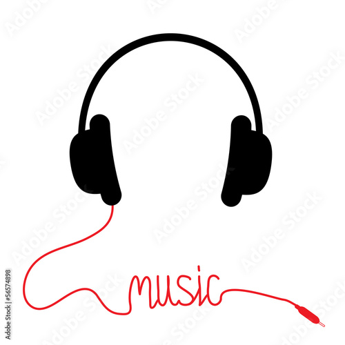 Black headphones with red cord in shape of word Music. Card.