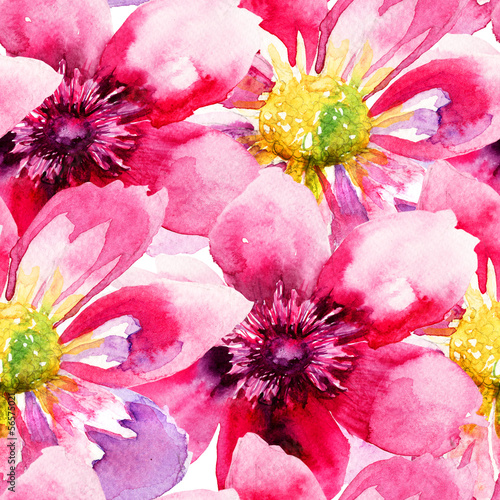 Obraz na Szkle Seamless wallpaper with Pink flowers
