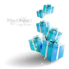 Blue gift boxes on white background