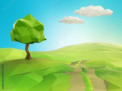 One tree on a grass field illustration