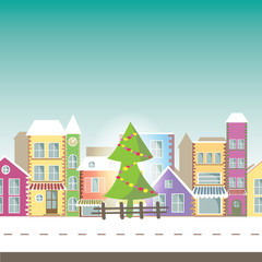 Happy New Year greeting card  -Banner with small town