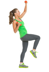 Full length portrait of happy healthy woman making exercise