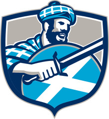 Highlander Scotsman Sword Shield Retro