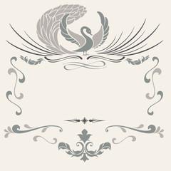 Vintage frame with stylized bird