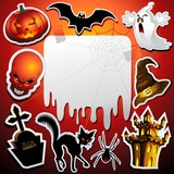 Halloween Stickers Greeting Card Poster