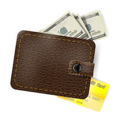 Leather wallet with dollars and a gold credit card