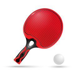 Red racket for ping-pong and the ball