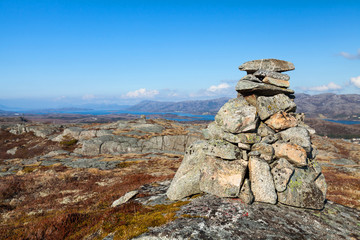 Granite stone cairn as a navigation mark