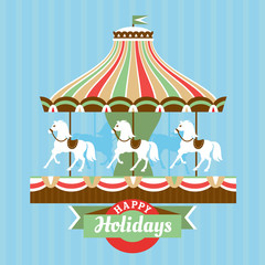 Greeting card with merry-go-round