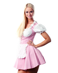 beautiful woman in tiroler or oktoberfest style