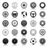 Wheels set, gears, abstract sphere