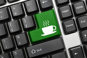 Conceptual keyboard - Coffee cup (green key)
