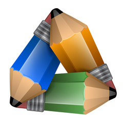Abstract element consisting of a triangular shape pencils.