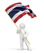 Man and Thai flag (clipping path included)