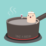 Man in Hot tub with Take a Break concept cartoon Illustration
