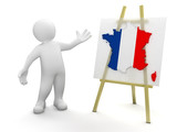 Man and French map (clipping path included)