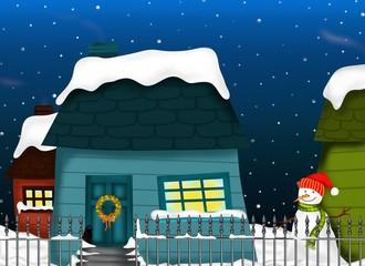 casette e pupazzo di neve