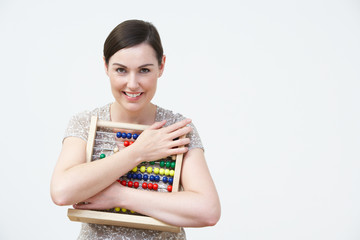 Smiling Woman Using Abacus