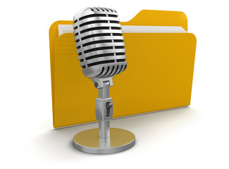 Microphone and Folder (clipping path included)
