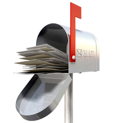 Old School Retro Metal Mailbox Full
