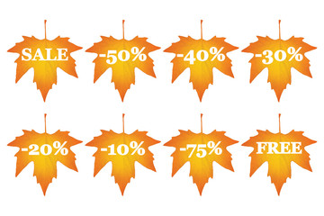 set of maple leaves with sale discounts