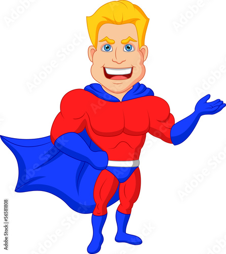 Superhero cartoon presenting