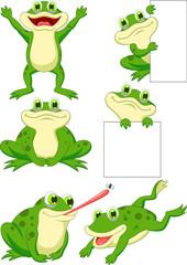 Cute frog cartoon collection set