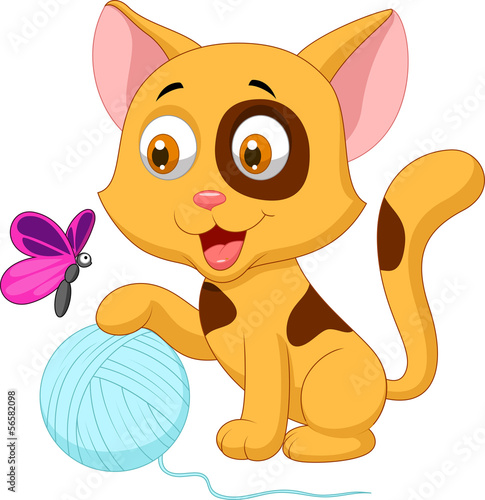 Poster Pony Cute cat cartoon playing with ball of yarn and butterfly